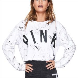 VS PINK Campus Cropped Pullover Sweatshirt